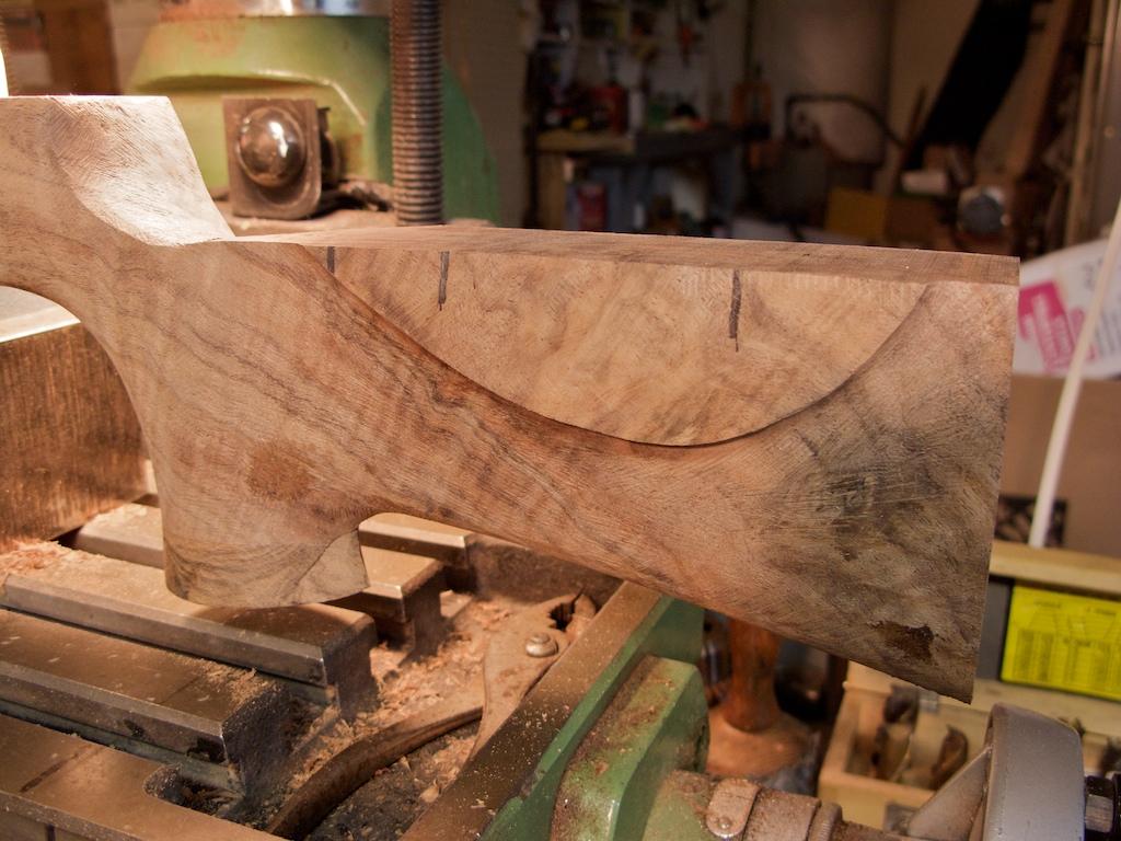 setting up for inletting  u2013 walnut rifle stock