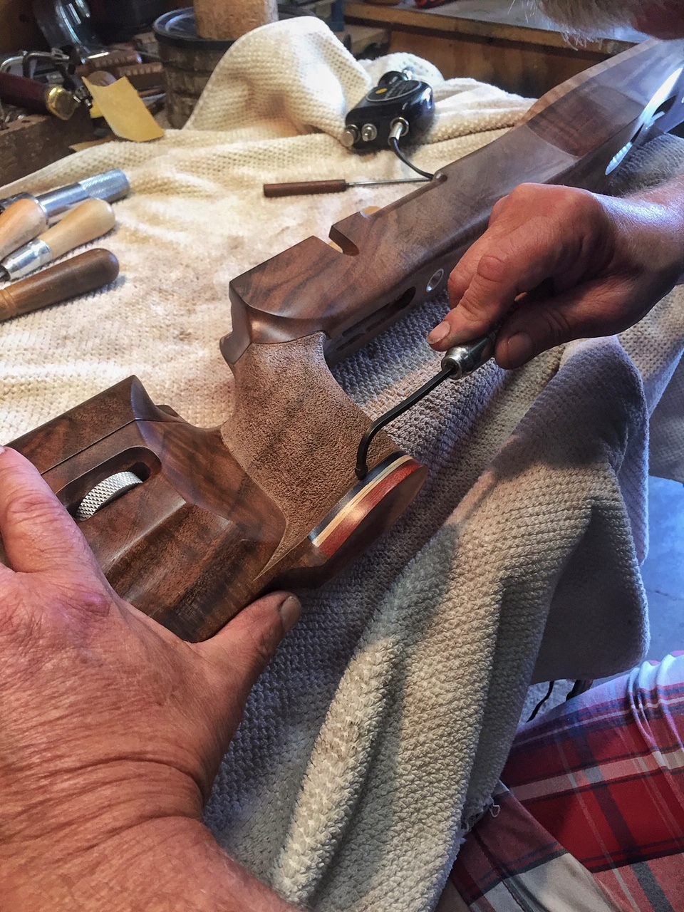 Finished work on F-Open Claro Walnut Stock for Golden Bear